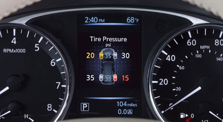 Nissan Vehicle Information Display Tire Pressure Warning