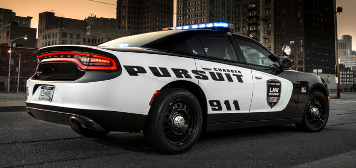 Rear of Dodge's new police Variant, the all new 2015 Dodge Charger Pursuit