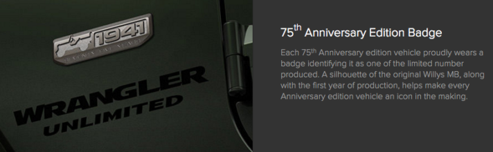 2016 Jeep Wrangler Unlimited 75th Anniversary Edition Badge