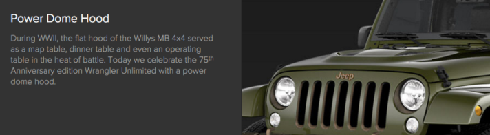 Jeep Wrangler Unlimited 75th Anniversary Power Dome Hood